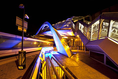 Wembley Nights (Jez Blake) Tags: bridge motion blur station train lights angle stadium wide railway f28 wembley 14mm samyang