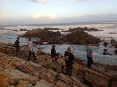 Climbing the rocks and watching the sea