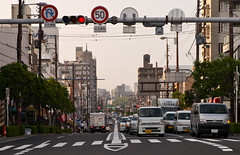 Down into the City (Aaron Webb) Tags: road japan   osaka speedlimit stoplight crosswalk
