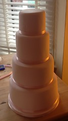 Pink 4 tier (starcupcakes) Tags: pink wedding flower cake french sugar petal anemone iced sponge tiered