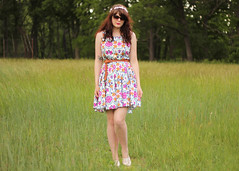 Sunlight Conspiracy (Katie Burry) Tags: floral girl field sunglasses outfit dress toms headband tomsshoes