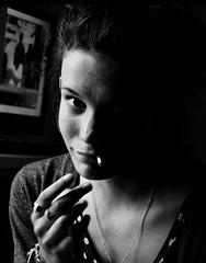 Claudia. (Laurianne Als) Tags: city portrait white black girl beautiful night de nikon noir photographie cigarette smoke bordeaux freckles taches simple et nuit fille blanc ville fumer fume rousseurs d5100