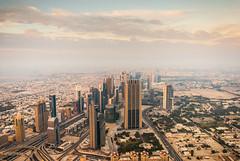 Dubai from Burj Khalifa (SMSidat) Tags: city blue sky building skyscraper mall dubai desert tall