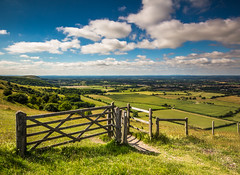 Gated (Explored) (GlennDriver) Tags: uk blue trees england sky green grass clouds rural fence sussex countryside nationalpark gate day cloudy britain wideangle gb fields southdowns