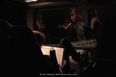 Bus Girls #0723 (Dan Meade) (Dan Meade) Tags: girls reflection bus glass night dark boot highway darkness leg noflash riding heel interstate pancake 40mm studying travelers riders megabus m22 canon7d ef40mmf28stm 40mmorfight