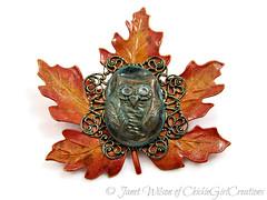 Autumn Owl Maple Leaf Brooch (ChickieGirlCreations) Tags: autumn fall nature leaf pin brooch polymerclay owl mapleleaf brass alteredmetal