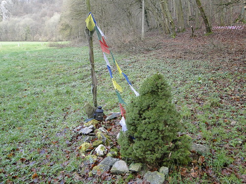 Nepalese Buddhist prayer flags in the Ardennes
