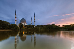 Cloudy Morning (Azzudin Abdul Aziz) Tags: park morning lake reflection building architecture sunrise muslim islam mosque malaysia bluehour masjid selangor shahalam subuh masjidnegeri masjidsultansalahuddinabdulaziz blurmosque
