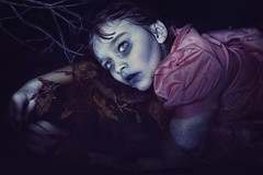 Unseeing (living_dead_babe) Tags: pink halloween water girl photoshop dead bath child zombie branches walker undead bathtub concept
