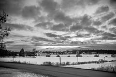 Unrest (amimol) Tags: road winter sky snow bike clouds landscape blackwhite vinter sweden himmel uppsala sverige snö bnw sn cykel landskap moln svartochvitt