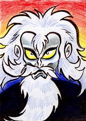 Doctor Hell (Tom Bagley) Tags: canada anime calgary atc artisttradingcard illustration ink cartoon manga folklore creepy fanart alberta gonagai mazingerz ooky colouredpencils tombagley brushwork drhell