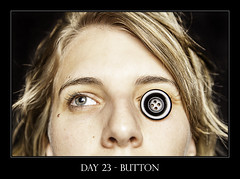 Day 23 - Button (purplefrog7777) Tags: portrait face self hair button worth1000 purplefrog 30day