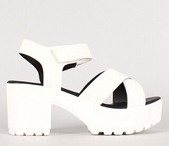 "criss cross strap lug sole chunky heel white • <a style=""font-size:0.8em;"" href=""http://www.flickr.com/photos/64360322@N06/16349815931/"" target=""_blank"">View on Flickr</a>"