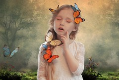 Butterfly Waltz... (Takis Poseidon) Tags: girl photoshop butterfly butterflies beleza obrigada pureza suavidade photomanipulate