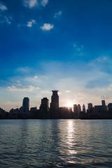 Shanghai, China (Florian  v18) Tags: china city blue cloud building skyline canon river shanghai line   pudong  thebund huangpu  24105           5d3