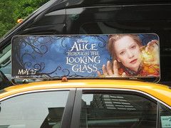 Alice Through the Looking Glass Taxi Fin Billboard 9136 (Brechtbug) Tags: street new york city nyc bus film glass movie tim looking near alice taxi broadway lewis disney double billboard johnny billboards carroll through mad fin depp avenue wonderland 7th 42nd hatter burtons decker in 2016 05182016