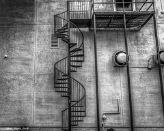 Outside Spiral Staircase (that_damn_duck) Tags: bw stairs blackwhite unitedstates southcarolina staircase spiralstaircase