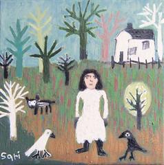 "#1334 ""BackYard"" (sariart2) Tags: original trees dog house abstract art girl birds self painting landscape acrylic raw folk outsider ooak naive sari primitive childlike azaria noy taught"