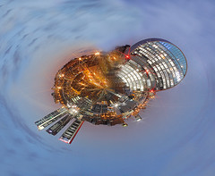 Miniworld (Eduardo Valero Suardiaz) Tags: world sky night clouds four cuatro lights luces noche towers cielo bbva mundo torres nuves minimundo miniworld