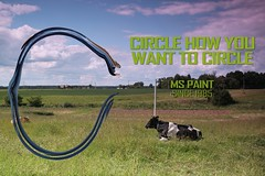 MS_paint84 (PerrySore) Tags: blue windows summer sky man green field grass clouds painting circle countryside cow photo paint image bend country picture human software microsoft program ms editing bent shape perry creating tool app sore modifying exartas