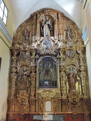 Retablo del Altar Mayor, Capilla del Rosario, Exconvento hoy Parroquia de San Agustín de la Cuevas, Tlalpan, Cdad. de México, CDMX.