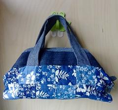 Mini tote: Repurposing my old jean (OrangeZoo) Tags: blue jean handmade patchwork handbag tote repurpose upcylcing
