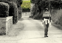 Lady in walking path (patrick_milan) Tags: street people blackandwhite bw woman white black green girl monochrome lady brittany noir noiretblanc femme bretagne vert nb dame rue blanc personne streetview gens finistere plouguin