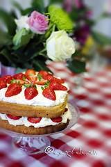mmm... cake... (ggcphoto) Tags: flowers cake cream strawberries fresh birthdaycake freshness freshfruit spongecake tableclothe classicvictoriacake