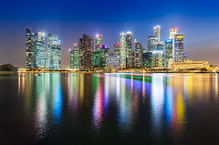 _MG_5556_web - Singapore Marina Bay skyscrapers reflection (AlexDROP) Tags: city travel light urban colour water skyline architecture night singapore postcard famous best bluehour scape picturesque iconic hdr mustsee 2015 canon6d ef16354lis