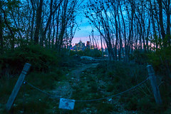 Do Not Enter (A Great Capture) Tags: road sunset urban toronto nature sign skyline buildings woods path chain trail block curve donotenter