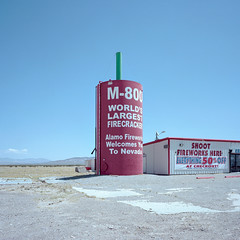 M-800. amargosa valley, nv. 2016. (eyetwist) Tags: red 6 west 120 6x6 mamiya film strange sign analog america mediumformat square landscape typography 50mm weird desert fireworks kodak sale nevada kitsch ishootfilm odd american highdesert signage type americana weathered deathvalley analogue welcome roadside mamiya6 alamo roadsideamerica portra watertank firecrackers firecracker fuse 50off mojavedesert typographic emulsion 160 bottlerocket us95 m800 romancandle f4l amargosa lenstagger eyetwist kodakportra160 6mf mamiya6mf amargosavalley ishootkodak epsonv750pro filmexif eyetwistkevinballuff worldslargestfirecracker mamiya50mmf4l alamofireworks iconla americantypology signgeeks