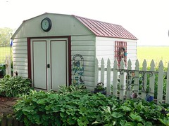 WELCOME TO THE GARDEN OUT BACK (Visual Images1) Tags: green clock garden shed iowa cedarfalls