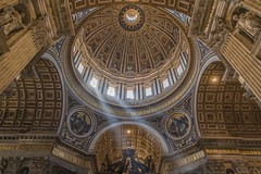St. Peter's Basilica (hattiebella) Tags: city light italy vatican rome building church saint architecture hall gloomy cathedral interior basilica gothic ceiling dome peters hdr hattie shaft blindphotographer