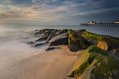 Southwold 6 Stop (scott.hammond34) Tags: longexposure sea sky cloud sunlight mist seascape beach water contrast landscape gold golden suffolk sand rocks day outdoor southwold goldenhour 6d southwoldpier leefilters 6stop