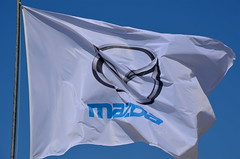 Mazda Flag (sweetpeapolly2012) Tags: cars car japan flag bluesky badge mazda brand fluttering