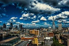 East is East (Alex Chilli) Tags: city uk bridge blue summer england sky london thames clouds buildings river cityscape fuji view towers sunny xa2 tatemodern vista shard offices walkietalkie xmount