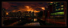A Manchester Sky (Kevin From Manchester) Tags: bridge england sky building architecture clouds river manchester waterfront outdoor lancashire citycentre hdr waterways riverirwell canon1855mm greatermanchester photoborder kevinwalker canon1100d