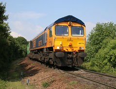 66770 GBRF 4L39       08:30 Birch Coppice-Felixstowe North at Blofield Lane LC (kitmasterbloke) Tags: railroad train diesel outdoor railway iso container locomotive freight felixstowe ipswich trimley