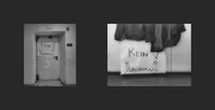 """""""NO PASSAGEWAY!"""" """"Stage Passageway"""" (writing on the poster / writing on the black plate) """"KEIN DURCHGANG!"""" """"Bühne Durchgang"""" / right:  Weeks later at the wardrobe in the Stage Callers` & Prompters` Office Wochen später Dienstzimmer Inspizienten Souffleuse (hedbavny) Tags: tür door bühnentür bühne stage eingang ausgang durchgang zarge türrahmen licht light theater theatre probe rehearsal vorstellung performance arbeit work profession backstage arbeitsraum souffleuse inspizient prompter stagecaller dienstzimmer kammerl handwerk weis white schrift handschrift aufschrift beschriftung black schwarz verbotsschild schild sign diary tagebuch aktion aktionismus stille ruhe silence quiet tacet wien vienna hedbavny ingridhedbavny austria österreich mantel garderobe ablage kleidung clothes jacke coat schal winter reflection reflektion reflex spiegel mirror schwarzweis blackandwhite bw monochrom"""