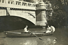 Chicago: My grandparents boating in Humbolt Park I think. Another vintage photo. (snow41) Tags: park family blackandwhite chicago water vintage boat pond canoe grandparents humbolt 1913c