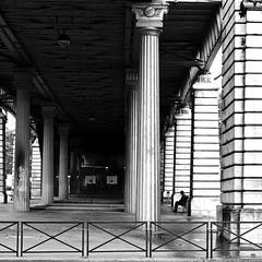 The man on the bench (pascalcolin1) Tags: blackandwhite man bench subway square noiretblanc mtro columns banc streetview homme carr paris13 colonnes photoderue pillier urbanarte pilliers photopascalcolin