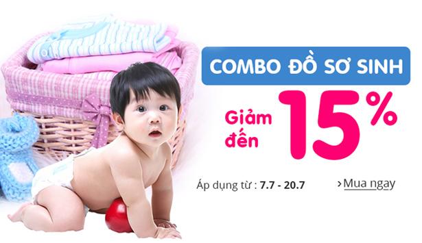 Quà tặng đặc biệt tháng 7: Giảm đến 15% khi mua Combo đồ sơ sinh