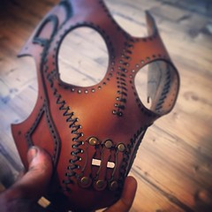 Leather mask coming alive. #Cyberpunk #CyberGoth #postapocalyptic #postapocalypse #steampunk #steampunkmask #leathermask #handmade #LARP #dieselpunk #leather #Darkart #costume #burningman (tovlade) Tags: black girl face make up leather punk hand mask goth goggles made doctor cyber cybergoth cyberpunk plague larp steampunk postapocalyptic postapocalypse dieselpunk