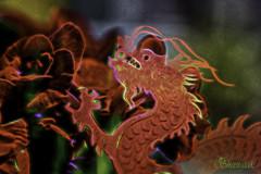 Flower Dragon (Shastajak) Tags: flower dragon doubleexposure card begonia sliderssunday photoshopcc topazglow rtistica