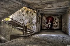 Mural vs Stairs (Strange Artifact) Tags: sony a7r fe 1635 f4 za oss t carl zeiss variotessar urbex urban exploration ue abandoned decay germany cccp pilot school