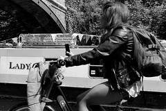 lady (likrwy) Tags: street woman white black monochrome lady mono canal path leg moment