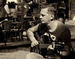 Portrait (Natali Antonovich) Tags: street brussels portrait monochrome belgium belgique belgie guitar profile lifestyle guitarist sweetbrussels