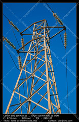 Electric pylon (__Viledevil__) Tags: blue sky espaa color tower colors station electric skeleton march wire construction energy framed main cable structure line beam electricity sanfernando solitary cdiz masts transmission direct volts voltage confinement insulator