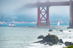 Beneath the Golden Gate Bridge (Serendigity) Tags: california usa sanfrancisco goldengate mist surf fog coast bridge rocks