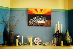 The Room (andrewcaswell) Tags: blue sunset red green face yellow sunrise painting bedroom candle sony australia frame tasmania vase hobart decor hdr mantle mantlepiece a37 andrewcaswell